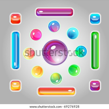 Set with glasses multicolor icons circle, square and rectanle shapes