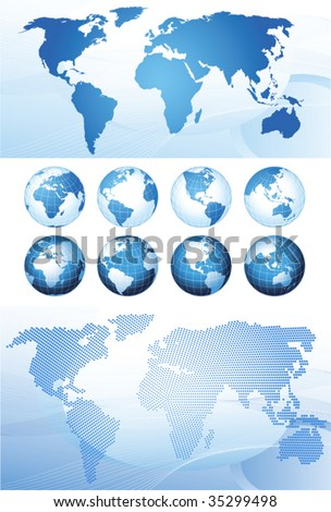 Set with global series and map background vector for Diva gis