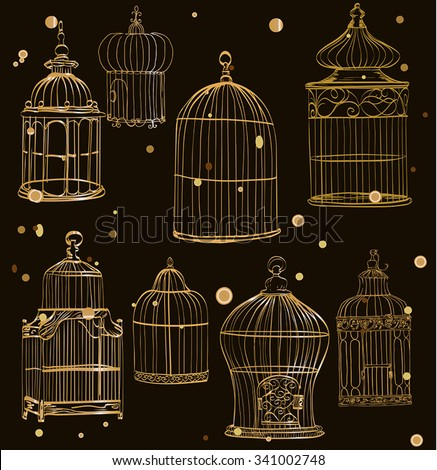 set with gold cages
