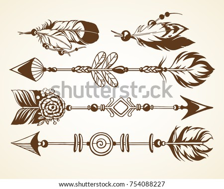 Set with graphic vector illustration. Magic symbolic art in boho style. Arrows, feathers, beads. Spirituality, alchemy design element for invitation, tattoo