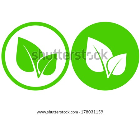 set with green leaf icons in round frame