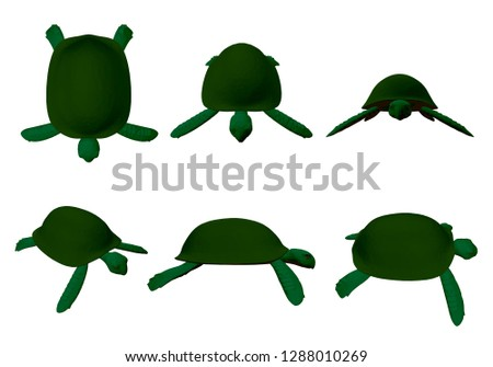 set with green turtles 6
