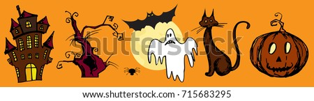 set with halloween background