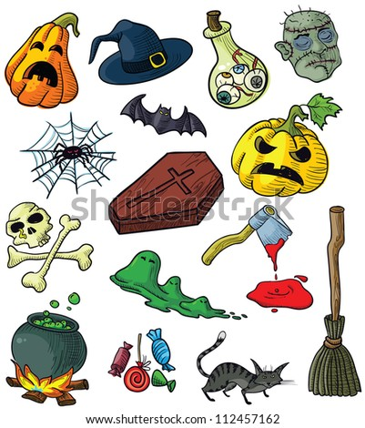 Set with halloween doodles, color version