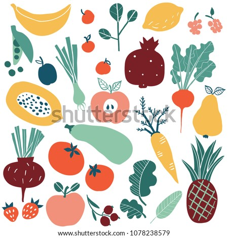 Set with hand drawn colorful doodle fruits and vegetables. Sketch style big vector collection. Flat icons set: berries, carrot, onion, tomato, apple, pineapple, beet, pear, peas, strawberry, lemon.
