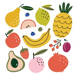 Set with hand drawn colorful doodle fruits. Sketch style vector collection. Flat  design. Apple, peach, lemon, banana, pomegranate, pineapple, pear, avocado, plum. Organic, vegan food illustration