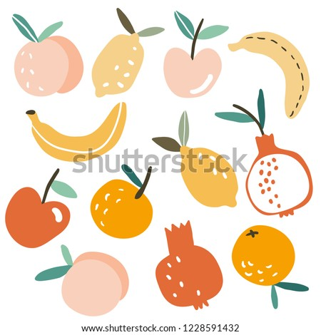 Set with hand drawn colorful doodle fruits. Sketch style vector collection. Flat tropic set: apple, orange, lemon, banana, pomegranate. Vegan, farm, natural food illustration