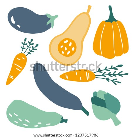 Set with hand drawn colorful doodle vegetables. Sketch style vector collection. Flat icons set: carrot, pumpkin, eggplant, artichoke. Vegetarian healthy food. Vegan, farm, organic, natural