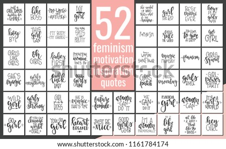 Set with  hand drawn feminism typography poster or cards. Conceptual handwritten phrase.T shirt hand lettered calligraphic design. Inspirational vector