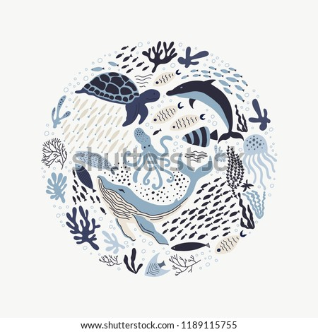 Set with hand drawn sea life elements.   Vector doodle cartoon set of marine life objects for your design.  #1189115755