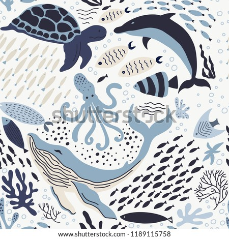 Set with hand drawn sea life elements.   Vector doodle cartoon set of marine life objects for your design. Seamless psttern.