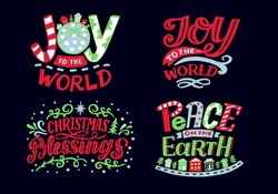Set with hand lettering quotes Joy to the world, Christmas Blessings, Peace on earth. Biblical background. Modern calligraphy Scripture print. Christian poster.