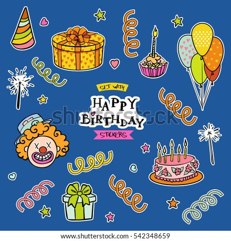 Set with happy birthday stickers. Vector illustration