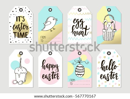 Colorful easter tags download free vector art stock graphics set with happy easter gift tags and cards with calligraphy handwritten lettering hand drawn negle Images