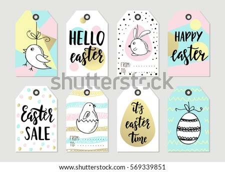 Happy easter vector set download free vector art stock graphics set with happy easter gift tags and cards with calligraphy handwritten lettering hand drawn negle Choice Image