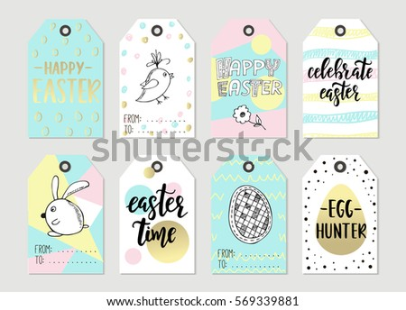Colorful easter tags download free vector art stock graphics set with happy easter gift tags and cards with calligraphy handwritten lettering hand drawn negle Choice Image