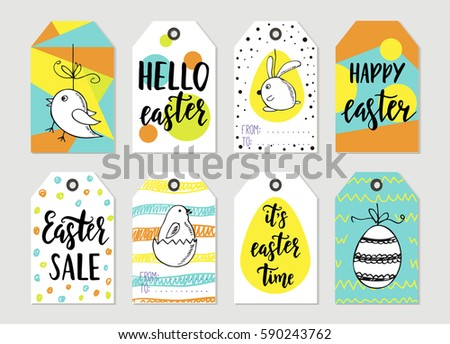 Easter gift tag vector set download free vector art stock set with happy easter gift tags and cards with calligraphy handwritten lettering hand drawn negle Choice Image