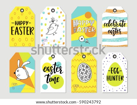 Easter gift tag vector download free vector art stock graphics set with happy easter gift tags and cards with calligraphy handwritten lettering hand drawn negle Gallery