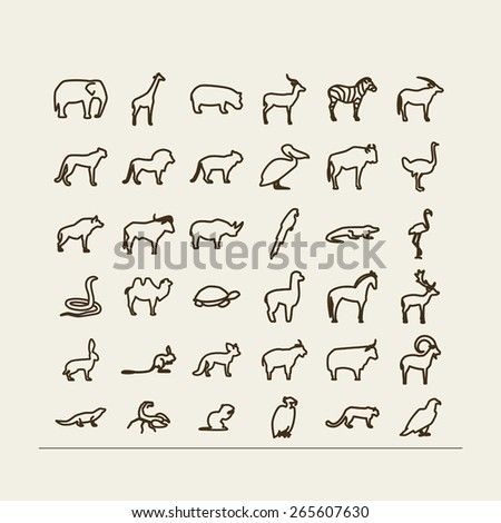 Set with icons - animals and birds. Desert, savanna, mountains. A vector.
