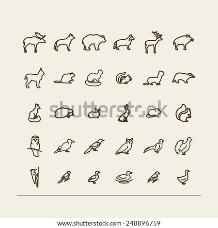 set with icons   forest animals