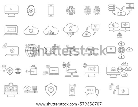 set with internet security icons