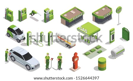 Set with isolated gas station isometric icons of gas filling columns outdoor buildings cars and people vector illustration