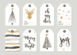 Set with Merry Christmas and Happy New Year vintage gift tags and cards with calligraphy. Handwritten lettering. Hand drawn design elements. Printable items