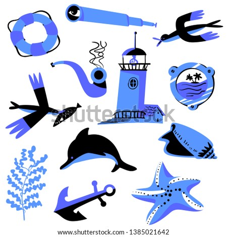 Set with nautical objects. Marine collection with spyglass, starfish, seagulls, shell and alga. Vector illustration in flat style for stickers, backdrops, labels, summer collections and sales