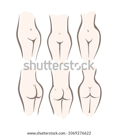 Set with nude attractive woman silhouette torso. Three types of female figure, the middle waist, low waist, high waist. Front and rear view. Sketch of woman naked body.
