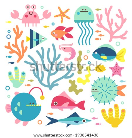 Set with ocean creatures. Vector isolated illustrations on a white background