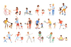 Set with parents and their children doing different sport exercises. Family time. Physical activity and healthy lifestyle concept. Colorful flat vector design