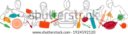 Set with People who Cook and Utensils. Cooking Background. Line art Poster. Vector illustration. Stockfoto ©