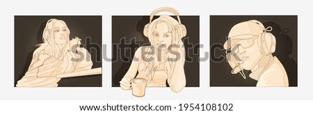 set with peoples in headphones