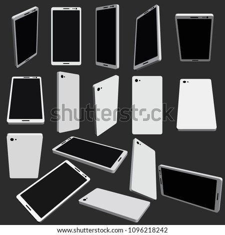 Set with phones in different positions. 3D. Smartphones in different angles. Phones in an isometric view. Vector illustration.