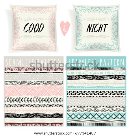 set with pillows and seamless