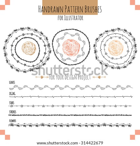 Set with seamless vector pattern hand drawn brushes for illustrator. EPS 10