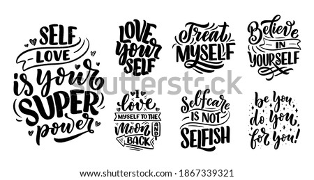 set with selfcare lettering