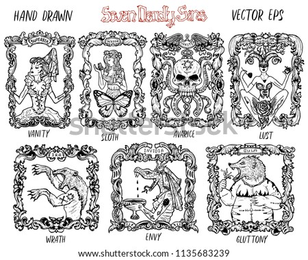 set with seven deadly sins