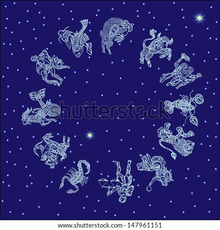 set with signs of zodiac on starry sky