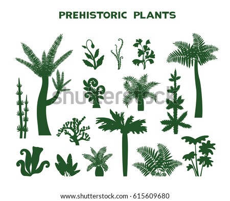 Set with silhouette of prehistoric plants on a white background. Vector illustration. Collection of extinct plants.