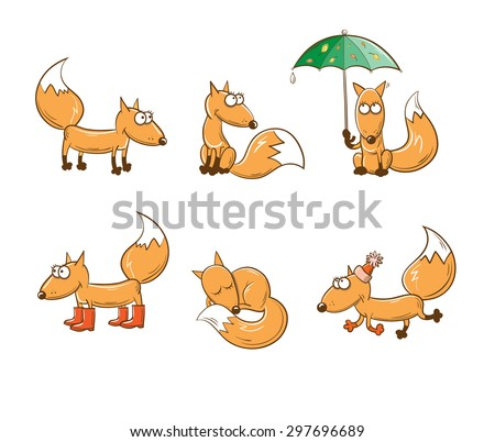 set with six cute cartoon foxes