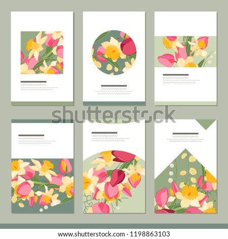 set with six floral romantic