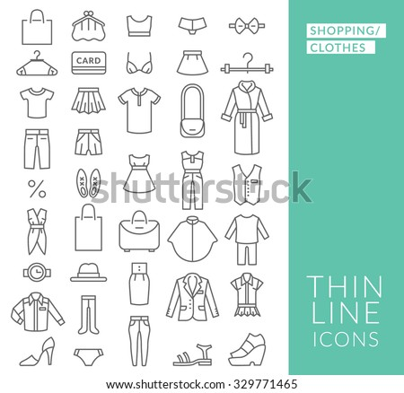 set with thin line  icons on
