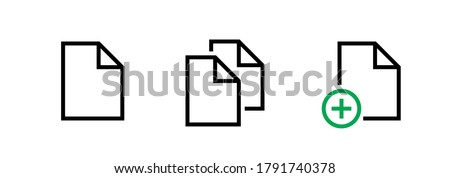 Set with three linear icons document in flat style. Editable line vector. Document sign. Linear symbol doc, file, doc on doc, doc plus with bent corners isolated on white backdrop.