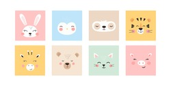Set with trendy cute animals. Funny animal faces. Perfect for textiles, prints, posters and more. All objects are isolated and grouped. Colorful Cartoon Flat Vector Illustration