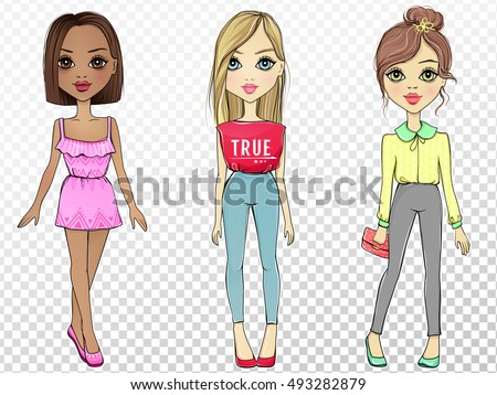 36e1e48527f2 Royalty-free Set with cute vector fashion girls.…  487125199 Stock ...
