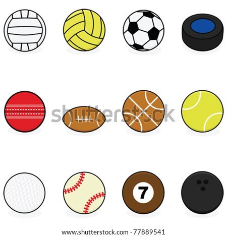 Set with vector cartoon balls for different sports: volleyball, water polo, soccer, hockey, cricket, football, basketball, tennis, golf, baseball, billiards and bowling