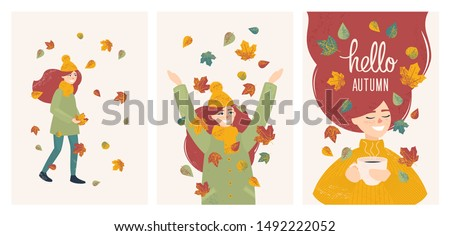 set with vector girl in autumn