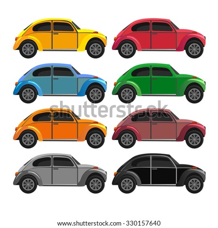 set with vintage cars  vector