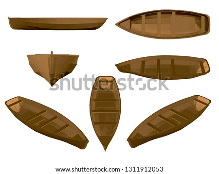 set with wooden boat brown
